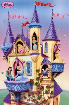 Disney (Princesses in Castle) Poster Print - 22x34 Poster Print, 22x34 Poster Print, 22x34