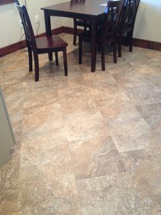 Mannington Adura in Athena in a dentist office kitchen area. Set at a 45 degree with the offset seams. Very nice!