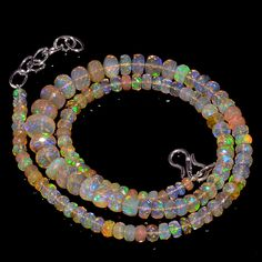 """72CRTS 4to8MM 18"""" ETHIOPIAN OPAL FACETED RONDELLE BEADS NECKLACE OBI3095 #OPALBEADSINDIA"""