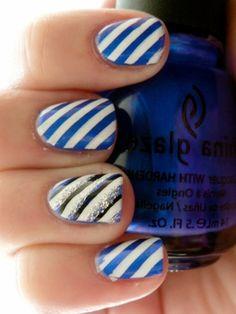 diagonal blue and white stripes, ring finger glitter nail art!
