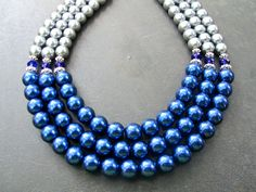 Pearl Statement Necklace Glass Pearls Crystals Blue by PrairieIce