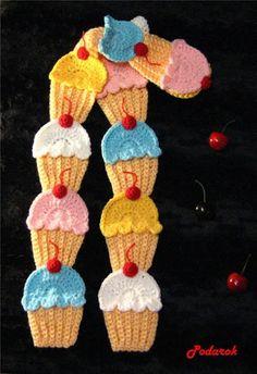 Receita de Crochê Infantil: cachecol de sorvetes em crochê