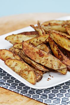 Healthier and more delicious than restaurant fries... Cumin-crusted Baked Oven Fries with olive oil and salt. easy recipes, vegetarian, vegan, gluten free