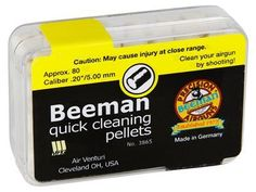 Beeman Quick Cleaning Pellets .20 Cal, 80ct by Beeman. $5.95. .20 caliber cleaning pellets Removes dirt, debris & lead build-up Ideal for any type of pellet gun  WARNING! Cleaning pellets are too light to be shot through spring guns. To use a cleaning pellet in a spring gun, use a rod to push it through.