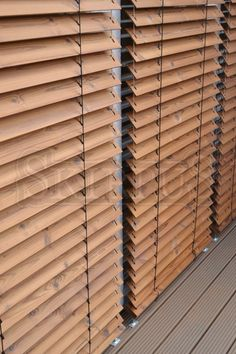 Skirpus outdoor facade outdoor wooden blinds made from long life thermowood. House Shutters, Diy Shutters, Bamboo Curtains, Curtains With Blinds, Blinds For Large Windows, Store Venitien, Front Gate Design, Window Privacy, Modular Walls