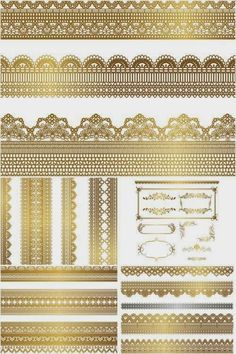 Set of vector Ornate gilded borders and decorative frames with lace embellishment for your decorative classic and vintage designs and decorations. Borders And Frames, Free Vector Graphics, Vector Vector, Free Photoshop, Lace Border, Gold Lace, Textures Patterns, Design Elements, Stencil