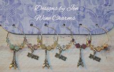 Paris Themed Wine Charms Swarovski Crystal Set of by DesignsByJen1, $21.00