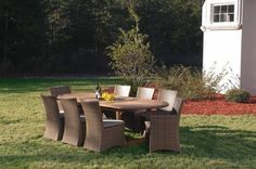 """Montserrat Modern Outdoor Teak Dining Set by Westminster Teak. $7295.00. Only Legally Sourced and sustainably harvested teakwood are used in the manufacture of our furniture. Quality Rated """"Best Overall"""" by the Wall Street Journal. Table - 39.75W x78.5/90.55/102.36Lx29.25H. ArmChair -24W x 23.0D x 35.5H. Lifetime warranty against Manufacture Defects. Part of the Valencia and Veranda Collections, this Montserrat Valencia Teak dining Set is truly an indoor-outdoor furniture set wit..."""