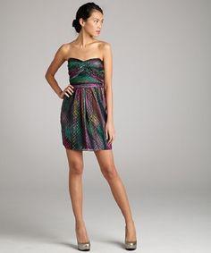 Shoshanna watermelon tourmaline print silk chiffon strapless dress | bluefly.com