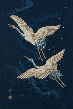 Japanese noren panel two cranes and clouds etsy kozo_tattoo on traditional japanese painting Japanese Tattoo Symbols, Japanese Tattoo Art, Japanese Tattoo Designs, Japanese Painting, Chinese Painting, Chinese Art, Sashiko Embroidery, Japanese Embroidery, Embroidery Art