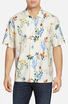 Tommy Bahama 'Medici Meadows' Original Fit Silk & Cotton Campshirt available at #Nordstrom