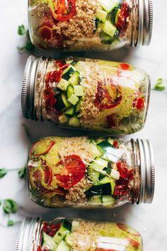 Summer Quinoa Salad Jars w Lemon Dill Dressing! These are so pretty and they last all week! My favorite healthy meal prep! #mealprep #healthyrecipe #quinoa #summer #shrimp | pinchofyum.com