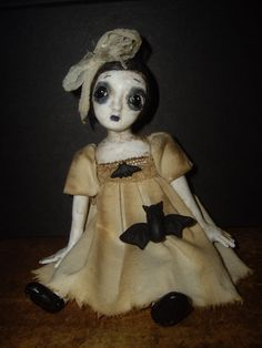"Bat child OOAK polymer clay hand sculpted 6½"" goth art doll by Toodlesocks"
