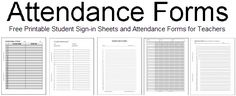Attendance Forms     100% free to print. Class rosters, student sign-in sheets, DIY attendance book, and more.