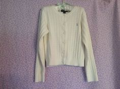 Ralph Lauren Girls Cable Knit Cardigan Size 6 #RalphLauren #Cardigan