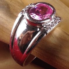 Estate 4ct oval cut pink topaz 0 5ctw white sapphire 925 sterling