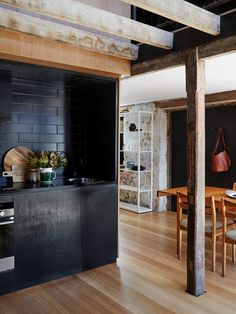 Kitchen – the simple black kitchen is carved out of the joinery wall, the tile shape and pattern reference the original cobbled brick floor of the barn. Photo – Sean Fennessy, production – Lucy Feagins / The Design Files. Cheap Backsplash Tile, Stainless Backsplash, Grey Backsplash, Hexagon Backsplash, Beadboard Backsplash, Herringbone Backsplash, Kitchen Backsplash, Backsplash Ideas, Rustic Backsplash