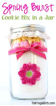 Spring Burst Cookie Mix in a Jar! ~ from TheFrugalGirls.com ~ share some spring happiness or Easter joy with this sweet and simple mason jar gift! #masonjars #giftsinajar #thefrugalgirls