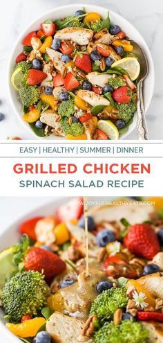 A delicious detox recipe, this Strawberry Chicken Salad with juicy strawberries, mandarin oranges, blueberries and grilled chicken then drizzled with a Honey Mustard Dressing. The perfect light and easy dinner for your family - guaranteed to be a new favorite summer salad! #pecans #spinach #30minute #paleo #glutenfree #dinner #lunch Spinach Salad Recipes, Spinach Strawberry Salad, Summer Salad Recipes, Summer Salads, Paleo Food, Healthy Eating Recipes, Healthy Eats, Light Easy Dinner, Honey Mustard Salad Dressing