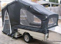 Roll-a-Home Motorcycle Campers Motorcycle Camper Trailer, Pop Up Tent Trailer, Pop Up Camper Trailer, Mini Camper, Popup Camper, Camper Life, Camper Trailers, Motorcycle Pull Behind Trailer, Camper Van