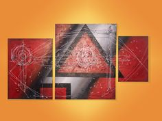 Cuadro Triptico Moderno Abstracto Con Textura