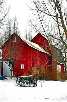 Scenic red barn in white snow - Repinned by Ruby Lane www.rubylane.com #vintagebeginshere