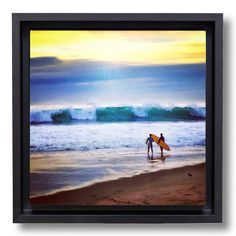 "A couple surfers surveying the waves during some big swell at the Jetty. OsoPorto canvasbox prints are gallery wrapped stretch canvas, floated in 1 3/4"" deep hardwood black enamel frame and ready to h"