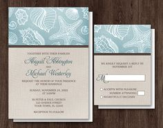 Rustic Beach Linen Wedding Invitations and RSVP - Printed or Printable - Seashell Pattern Turquoise Blue with Brown