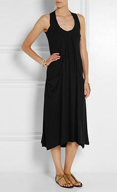 DONNA KARAN Draped Stretch Crepe Midi Dress