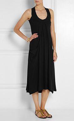 DONNA KARAN Draped Stretch Crepe Midi Dress