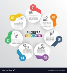 Infographics 7 options template for Royalty Free Vector - UI Design Board Process Infographic, Infographic Templates, Infographics, Ui Design, Flat Design, Picture Story, Information Design, Le Web, Lorem Ipsum