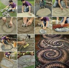 DIY Spiral Rock Pebble Mosaic Path I Wish to Have - Über DekorationA pebble mosaic will give your yard, garden, or walkway a unique and unexpected focal point. More detail hereThis Pebble mosaic garden path looks amazing. It is an easy DIY to turn t Mosaic Walkway, Pebble Mosaic, Stone Mosaic, Pebble Art, Mosaic Diy, Pebble Stone, Rock Mosaic, Mosaic Rocks, Pebble Garden