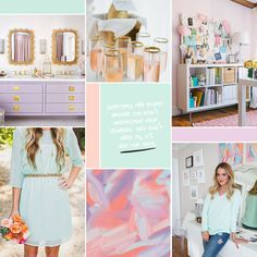 Modern pastel moodboard: mint, lilac, and coral (see post for image sources)… Graphic Design Brochure, Branding Design, Bedroom Color Schemes, Colour Schemes, Website Color Schemes, Purple Color Palettes, Design Seeds, Blog Design, Color Theory