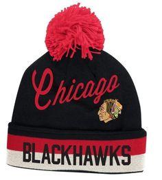 6a8d5f2e5fa Chicago Blackhawks Vintage CCM Cuffed Pom Knit Hat-Black