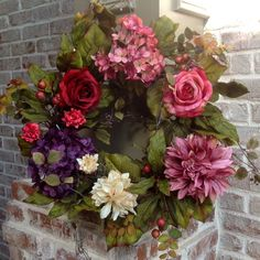 """22"""""""" Floral Cottage Wreath with Hydrangea, Rose and Dahlias Flower Heads Surrounded By Rich Lush Green Leafs - This Wreath is a Very High Quality Silk Wreath with Large Flower Heads and Embossed Green"""