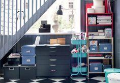 Storage Solutions & Home Organization - IKEA Ikea Storage, Storage Shelves, Locker Storage, Paper Storage, Smart Storage, Office Storage, Storage Room, Mini Loft, Ikea Inspiration