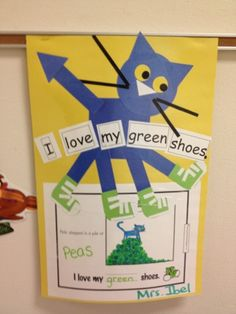 Pete the Cat-cute project..what color did his shoes change to and what did he step in?