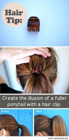 Hair tip for ponytail.