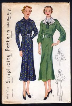 Simplicity 1994 | 1930s Ladies' Dress With Interesting Neckline Treatments