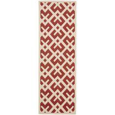 Safavieh Poolside Red/ Bone Indoor Outdoor Rug (2'4 x 6'7) - Overstock Shopping - Great Deals on Safavieh 7x9 - 10x14 Rugs