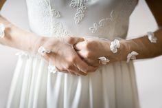 Bridal tulle gloves with silk flowers - 112 from Liliana Krokodylu by DaWanda.com