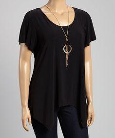 Love this Black Scoop Neck Top & Necklace - Plus by Star Vixen on #zulily! #zulilyfinds