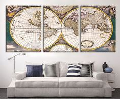 Antique world map wall tapestry ancient world map wall hanging large art canvas print world map canvas art print vintage world map art print gumiabroncs Images