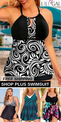 Sexy Plus Size Beach Swimsuits For Curvy Women - WordPress Sitesi Plus Size Swimsuits, Beach Swimsuits, Casual Fall Outfits, Cute Outfits, Beach Outfits, Curvy Fashion, Plus Size Fashion, Cut Tee Shirts, Bikini Sets