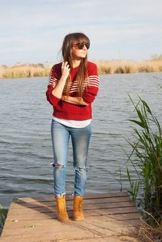 Pimkie Jeans, Zaful Sweater and Panama Jack Boots look