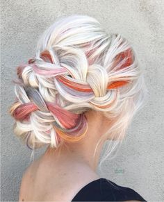 Platinum Blonde White & Orange Lavender Grey Hair - Hair Tips Lavender Grey Hair, Lilac Hair, Hairdo For Long Hair, Bridal Hairdo, Cool Hair Color, Hair Colors, Colours, Crazy Hair, Great Hair