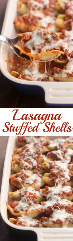 Lasagna Stuffed Shells Noodles stuffed with a cheesy lasagna filling, with extra sauce and cheese on top. One of our favorite dinners! Tastes Better From Scratch: Italian Recipes, Beef Recipes, Cooking Recipes, I Love Food, Good Food, Yummy Food, Healthy Food, Healthy Meals, Lasagna