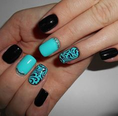 Here's a spectacular manicure, as in the photo, you can make by yourself by employing black and blue-green varnishes. An abstract pattern on the nail of th