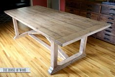 DIY ZGallerie Dining Table With Restoration Hardware-inspired Finish - I prefer a darker stain, but this is still a beautiful table