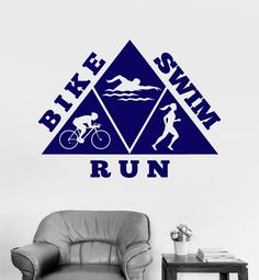 Vinyl Wall Decal Healthy Lifestyle Bike Swim Run Sports Stickers Mural Unique Gift Triathlon, Golf Pictures, Vinyl Wall Stickers, Custom Wall, Ladies Golf, Decoration, Healthy Lifestyle, Unique Gifts, Swimming